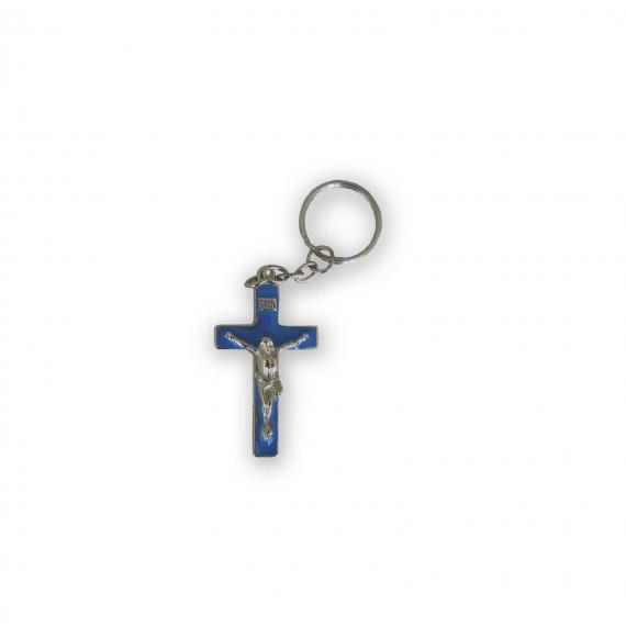 Llavero Cristo Crucificado Esmalte Azul